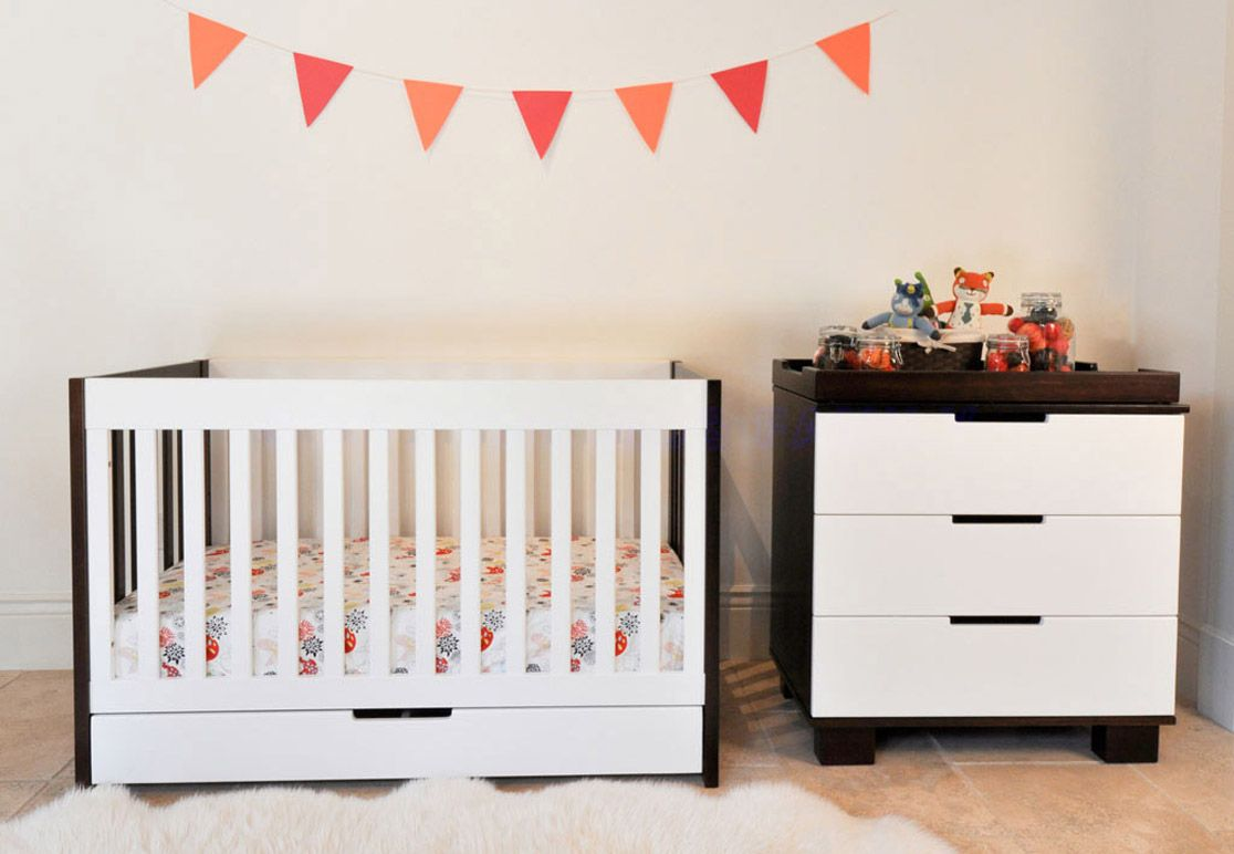 Crib - Mercer nursery collection in white and walnut
