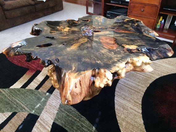 Gorgeous Buckeye Burl Wood Slab And Stump Base Table On Etsy, $4,450.00