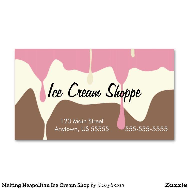 Melting Neapolitan Ice Cream Shop Business Card Zazzle Com Neapolitan Ice Cream Ice Cream Punch Ice Cream Shop
