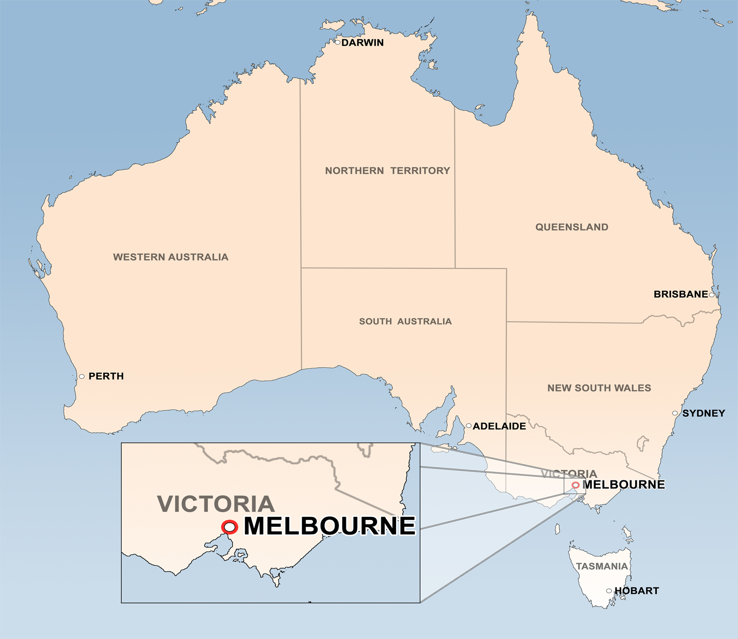 melbourne australia map | Population: 4,077,036 (2nd largest in
