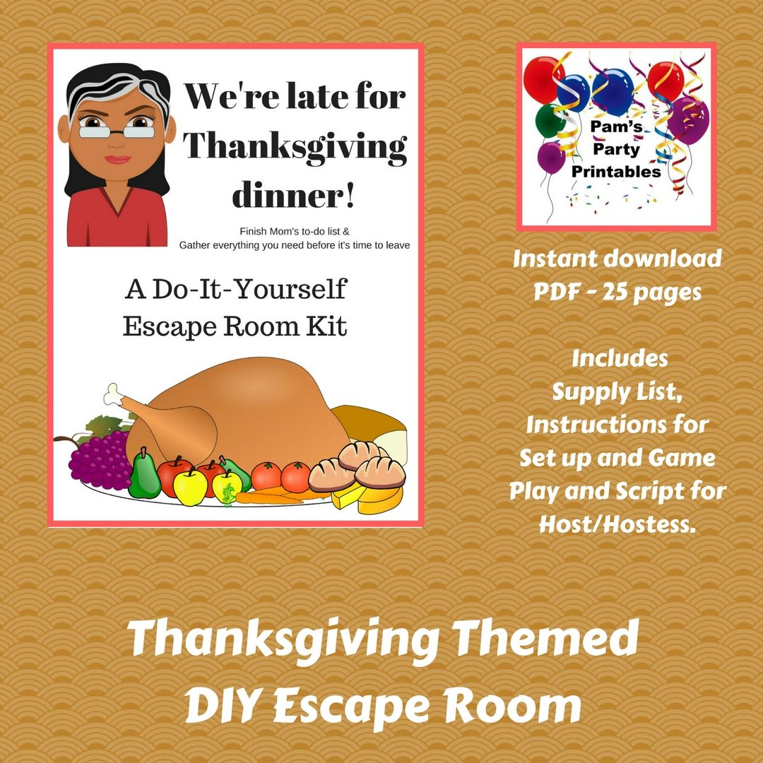 Were late for thanksgiving a diy escape room kit thanksgiving a diy escape room kit thanksgiving game family friendly ages 8 to 80 group game party game solutioingenieria Choice Image