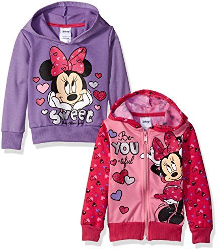 Disney Little Girls' Minnie 2 Pack Hoodies, Pink, 6 *** Continue to the product at the image link.