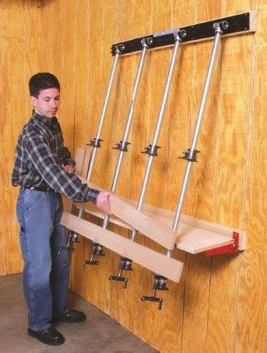 Wall mounted panel clamp system | Woodshop | Woodworking