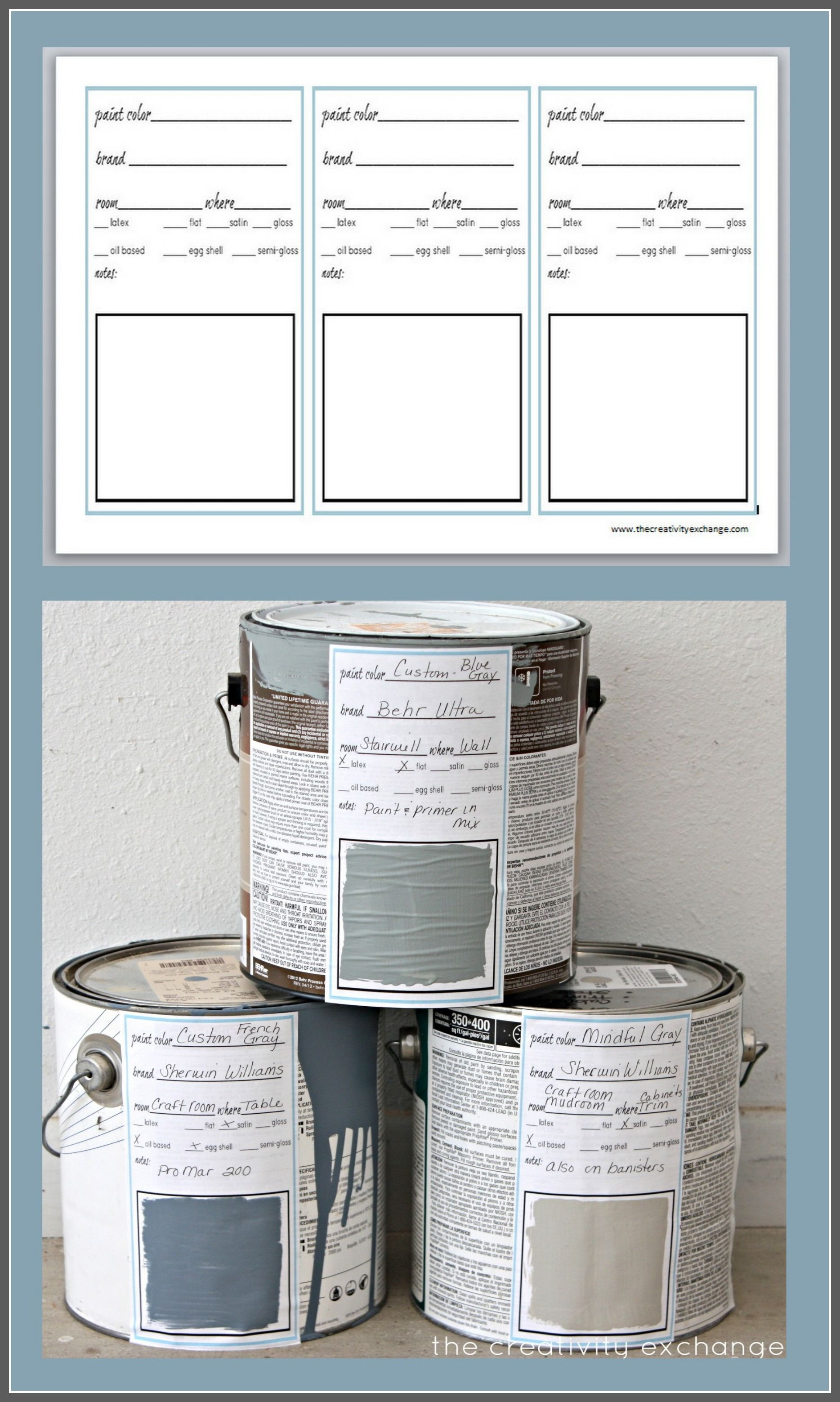 Printable Labels For Paint Cans and Color Binder Sheets   Printable ...