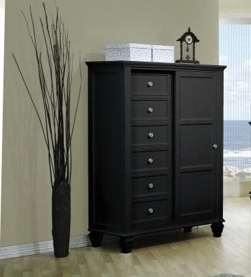 Storage Chest With Sliding Door In Black Finish Furniture Decor Dressers And Chests Black Decor Drawers