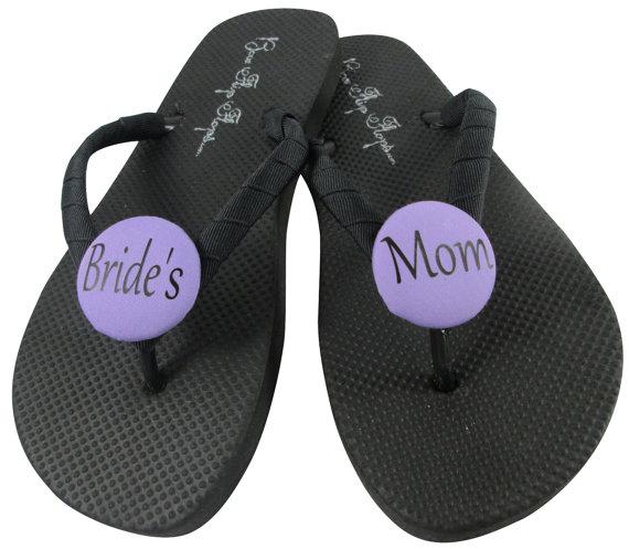241373da89631 Bride s Mom Flip Flops  Groom s Mom for the Wedding. Black   White Classic  or choose colors in flat