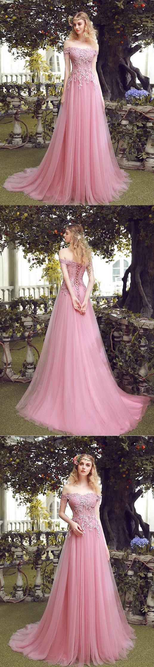 Aline offtheshoulder floorlength short tulle prom dressevening
