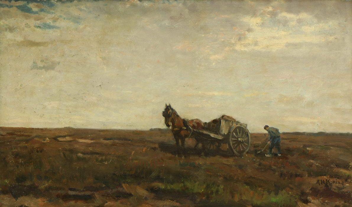 Veilinghuis De Zwaan Amsterdam - veiling maart 2016 - catalogusnummer: 4833 - Arnold Hendrik Koning (1860-1945). Boer met paard en wagen op het land, doek, gesign. r.o., 33 x 56 cm; opbrengst €250