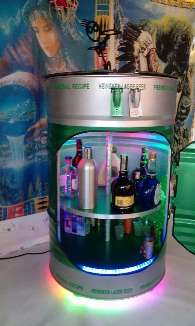 Minibar en tambor de 55 galones reciclado | Eşya | Pinterest | Drums ...