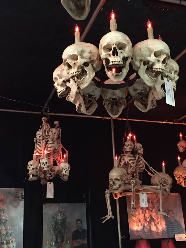 I wonder if I could do something like this on my chandelier - halloween decorations skeletons