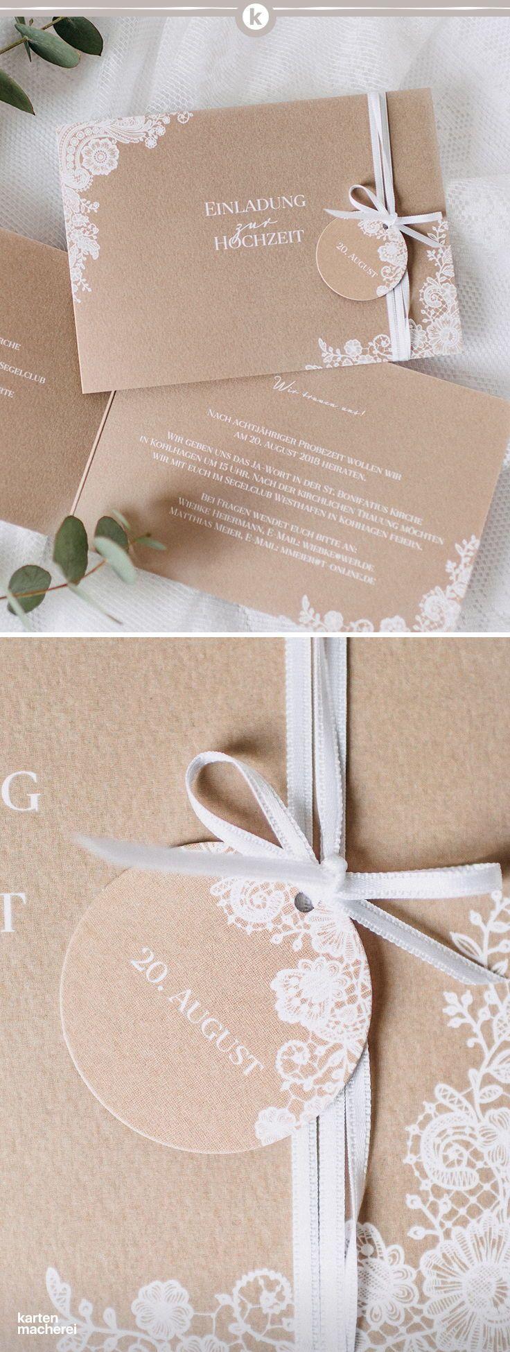 Hochzeitseinladung mit anhänger zum basteln perfekt für eine hochzeit im vintage und boho stil