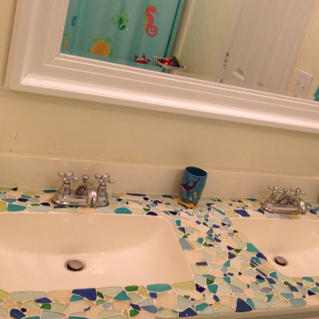 Mosaic Sea Glass Vanity Sea Glass Mosaic Sea Glass Crafts Glass Countertops