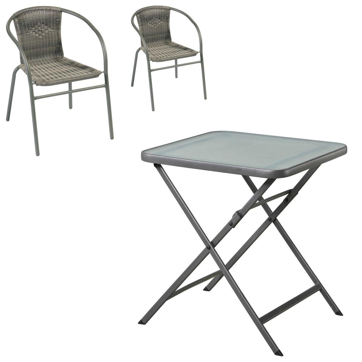 Gartenmöbel-Set Modena/ Larissa (70x70, Klapptisch, 2 Stühle, grau ...