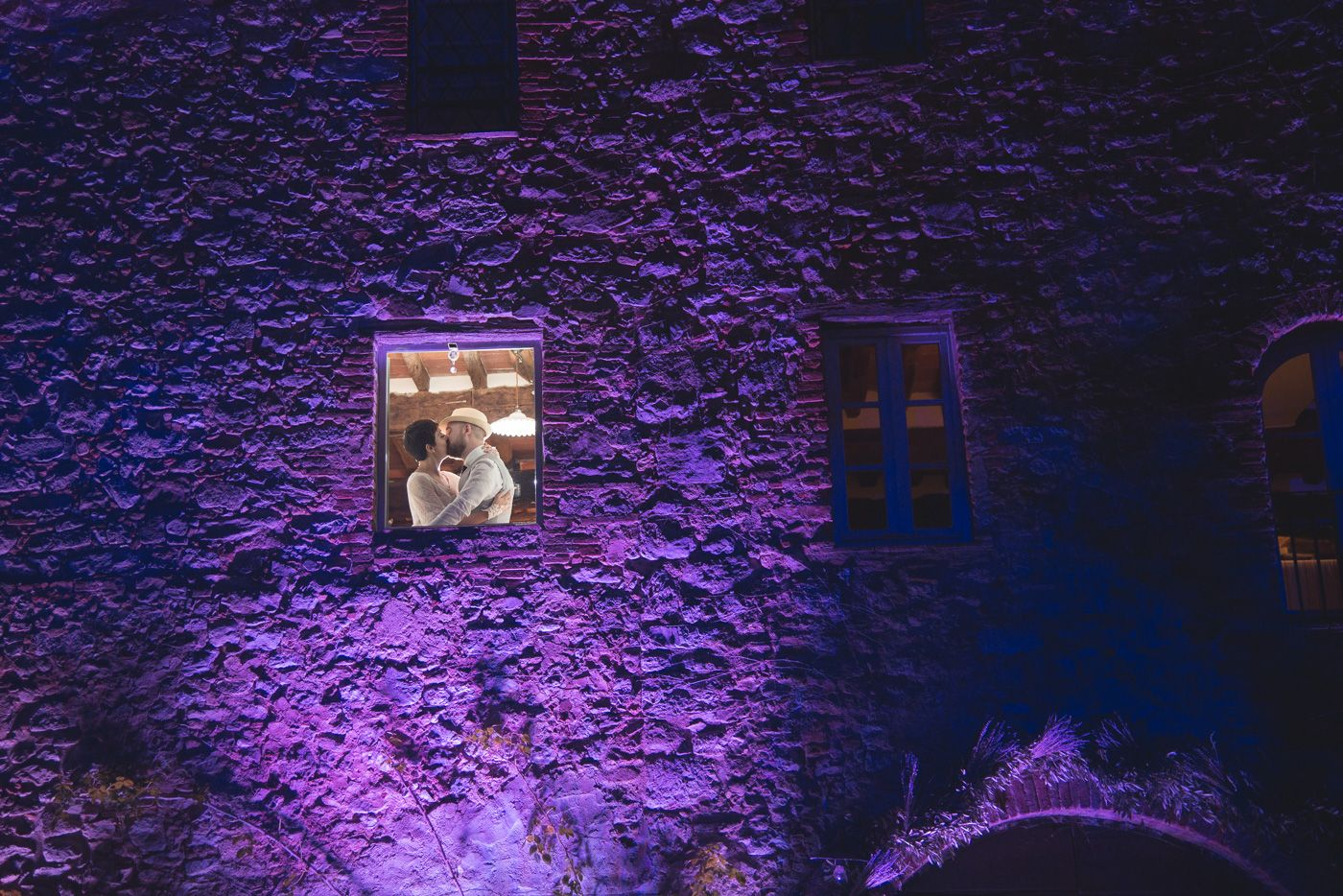 Dramatic panoramic light on stone Tuscan farmhouse -smoochin in the moonlight!