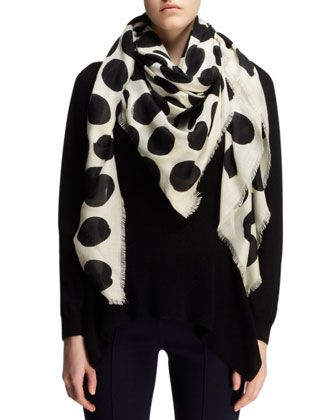 5862337062e6 Lanvin Polka-Dot Cashmere/Silk Scarf, White/Black   Fashion   Silk ...
