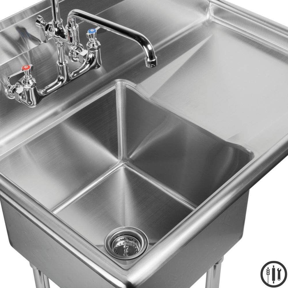"Restaurant Kitchen Sink stainless steel prep sink with right side drain board- 15"" x 15"