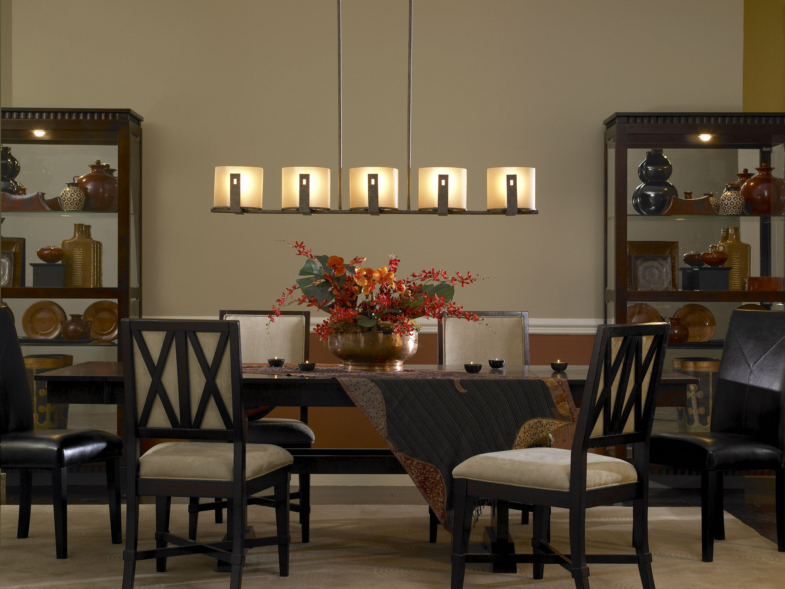 A unique rustic-contemporary light for the dining room ...