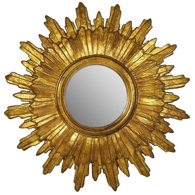 Mid-20th Century Italian Baroque Style Giltwood Sunburst Mirror 1