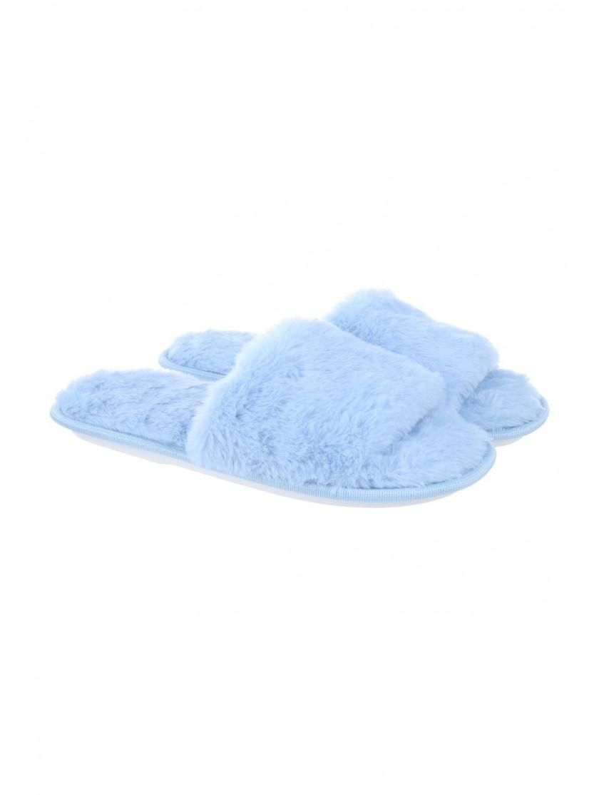 843e42c9d Womens Blue Fluffy Slider Slippers | Peacocks | Outfit ideas in 2019 ...