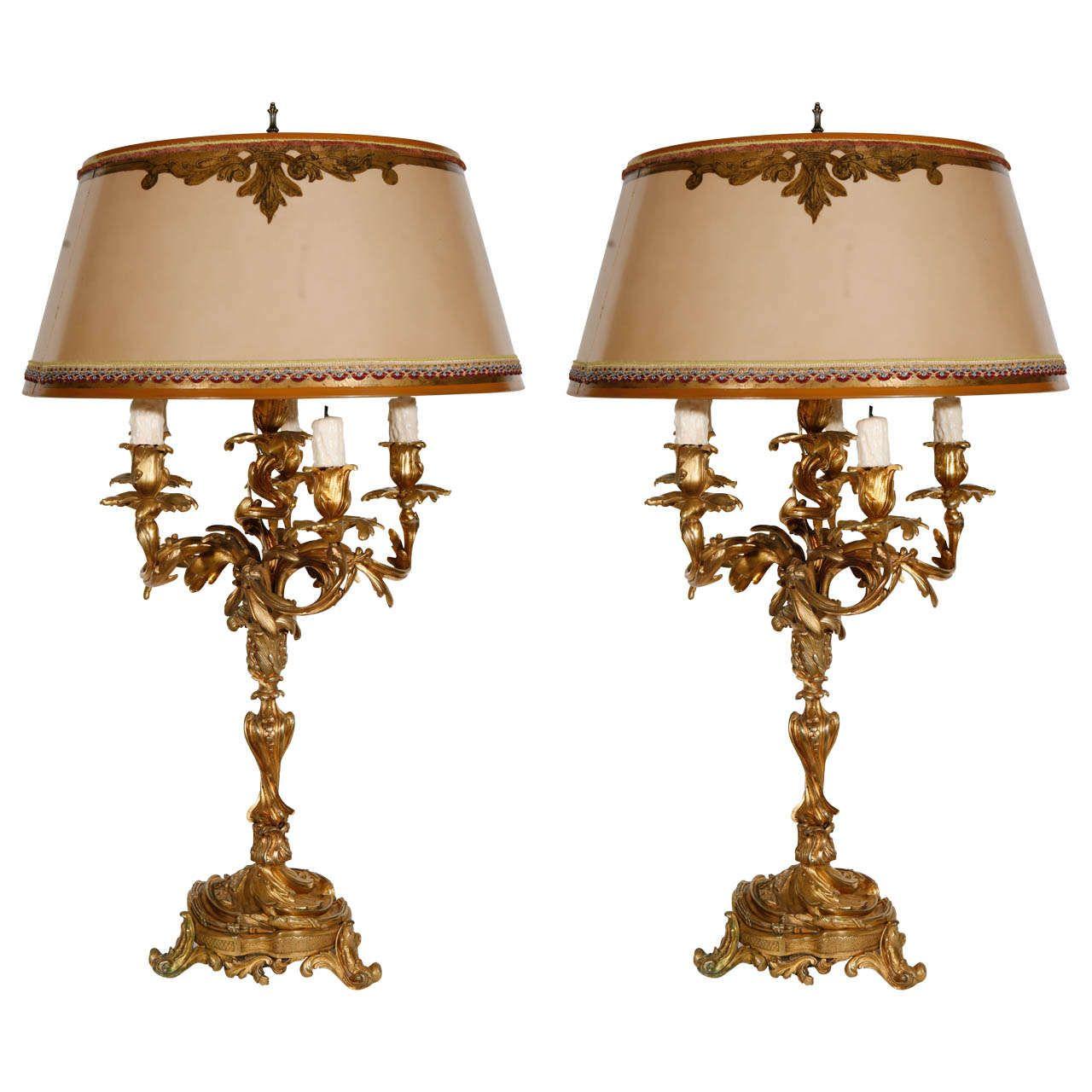 Pair Of 19th Century French Dore Bronze Candelabra Lamps Lamp Bronze Candelabras Bronze Candle