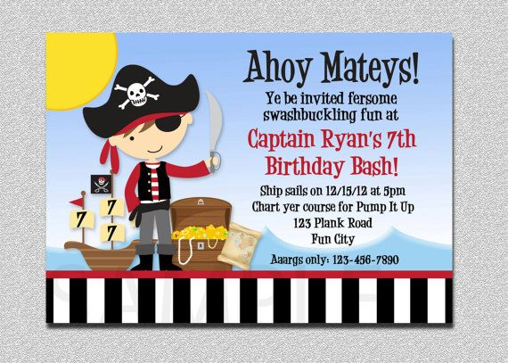 pirate party invitations boy pirate birthday by thetrendybutterfly, Birthday invitations