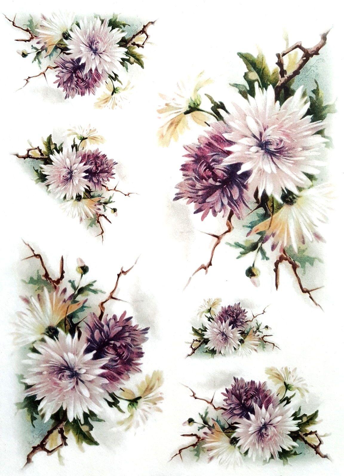 Rice Paper for Decoupage Scrapbooking Sheet Craft Vintage Garden Flowers 1/3 | eBay