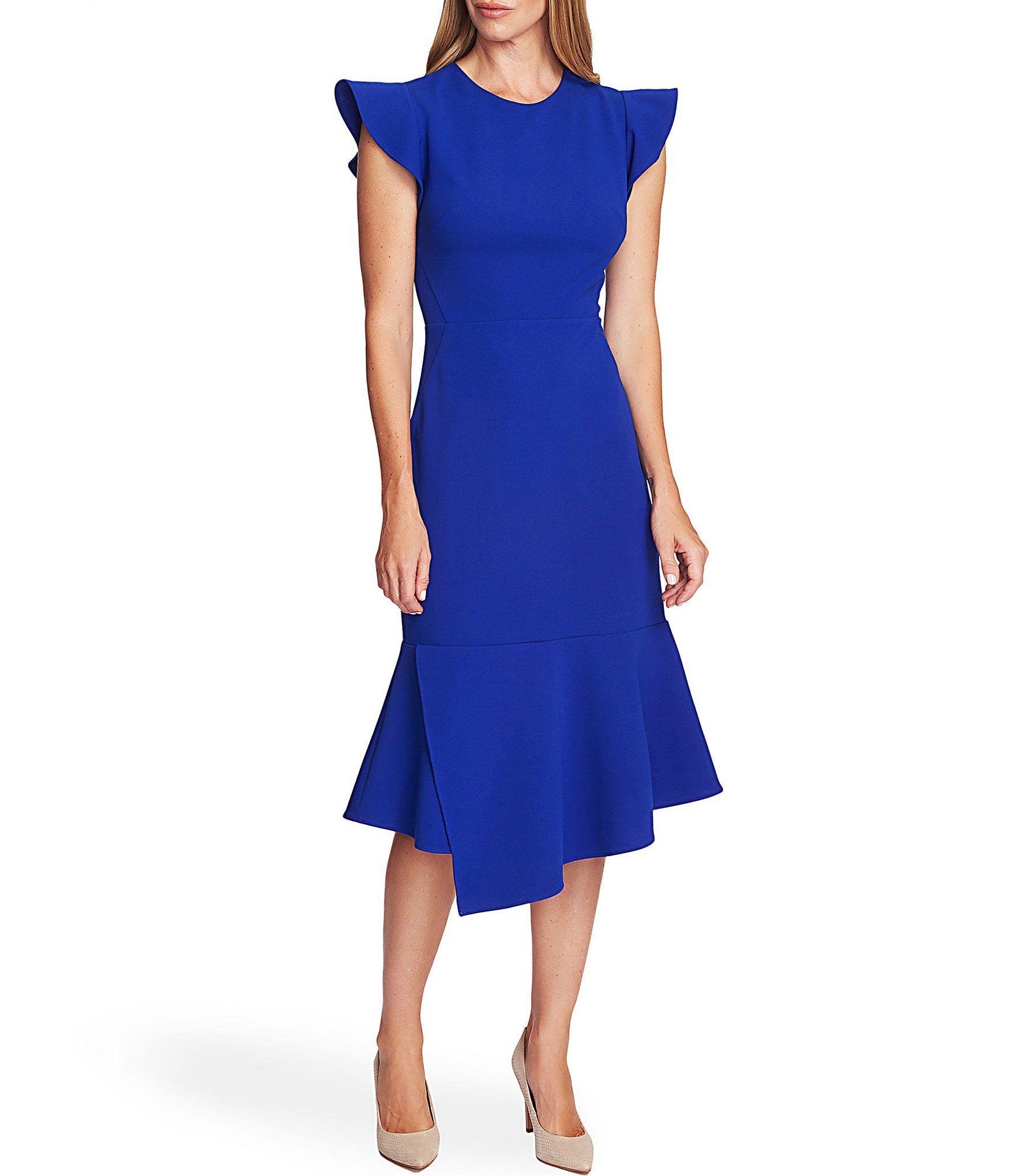 Vince Camuto Flutter Sleeve Asymmetrical Peplum Midi Dress Dillards Peplum Midi Dress Womens Midi Dresses Electric Blue Dresses [ 2040 x 1760 Pixel ]