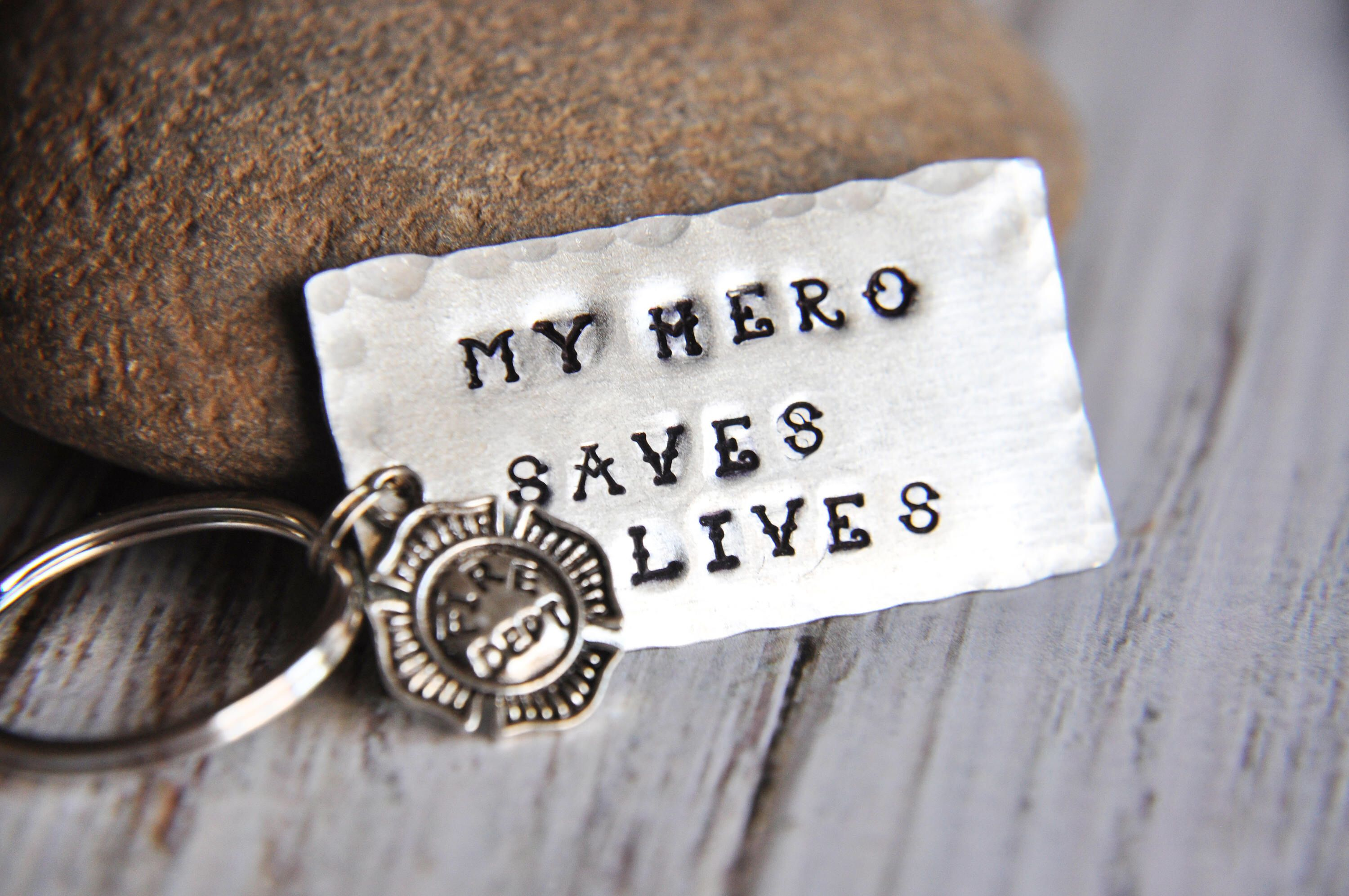 Firefighter Keychain  Firefighter Gift  My Hero Saves Lives
