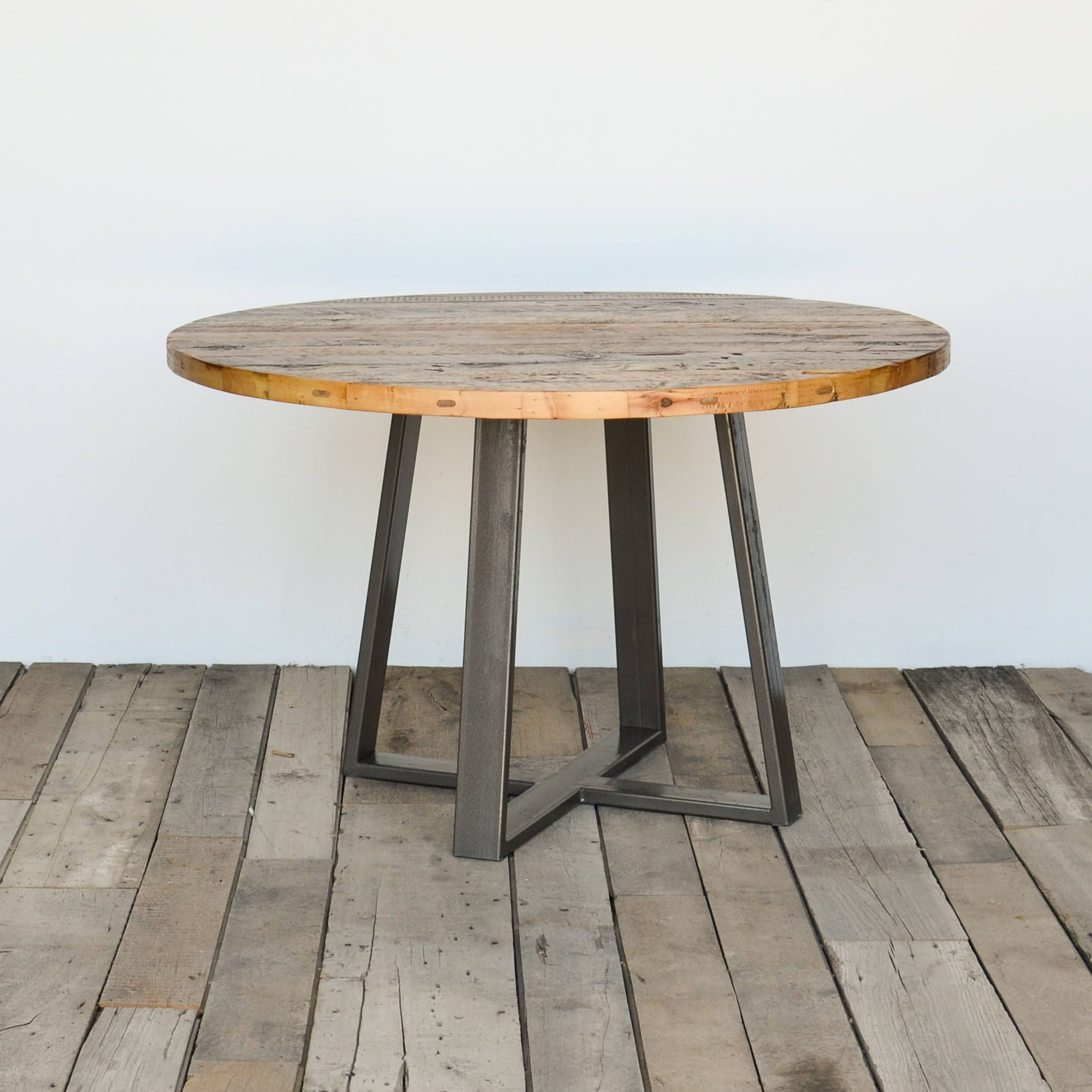Round Top Pedestal Table In Reclaimed Wood And Steel Legs In