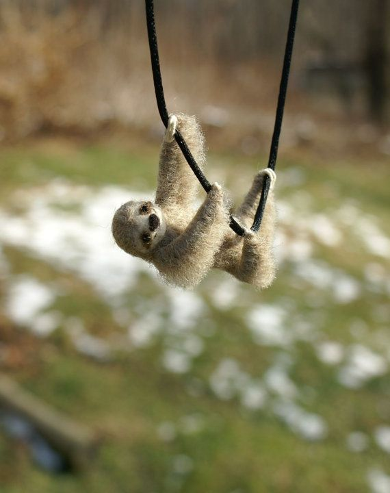 Tiny Sloth Necklace / sculpture needle felted by motleymutton