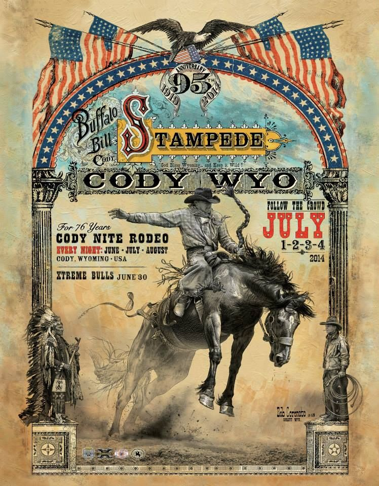 2014 Cody Stampede Rodeo Poster In 2019 Cowboy Art