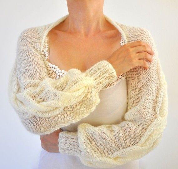 Shrug Bolero Bridal Shrug Long Sleeved Ivory Cream Bridal ...