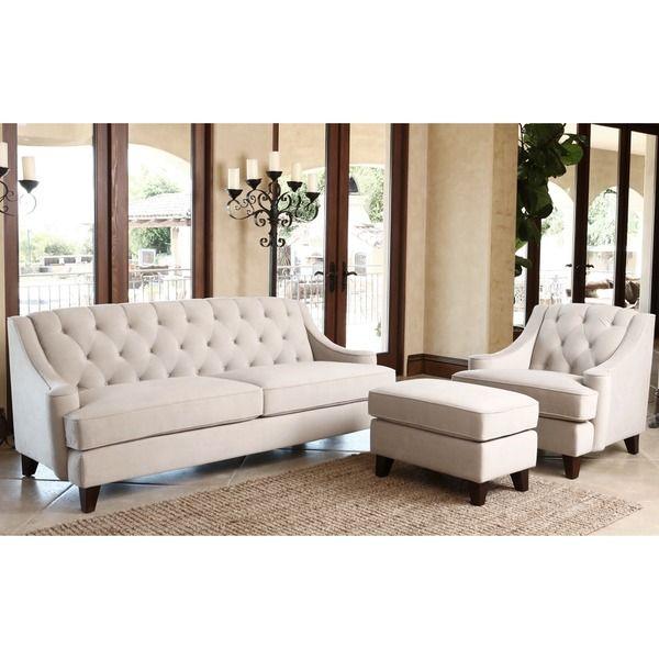 ABBYSON LIVING Claridge Velvet Fabric 3 Piece Beige Sofa, Armchair And  Ottoman Set