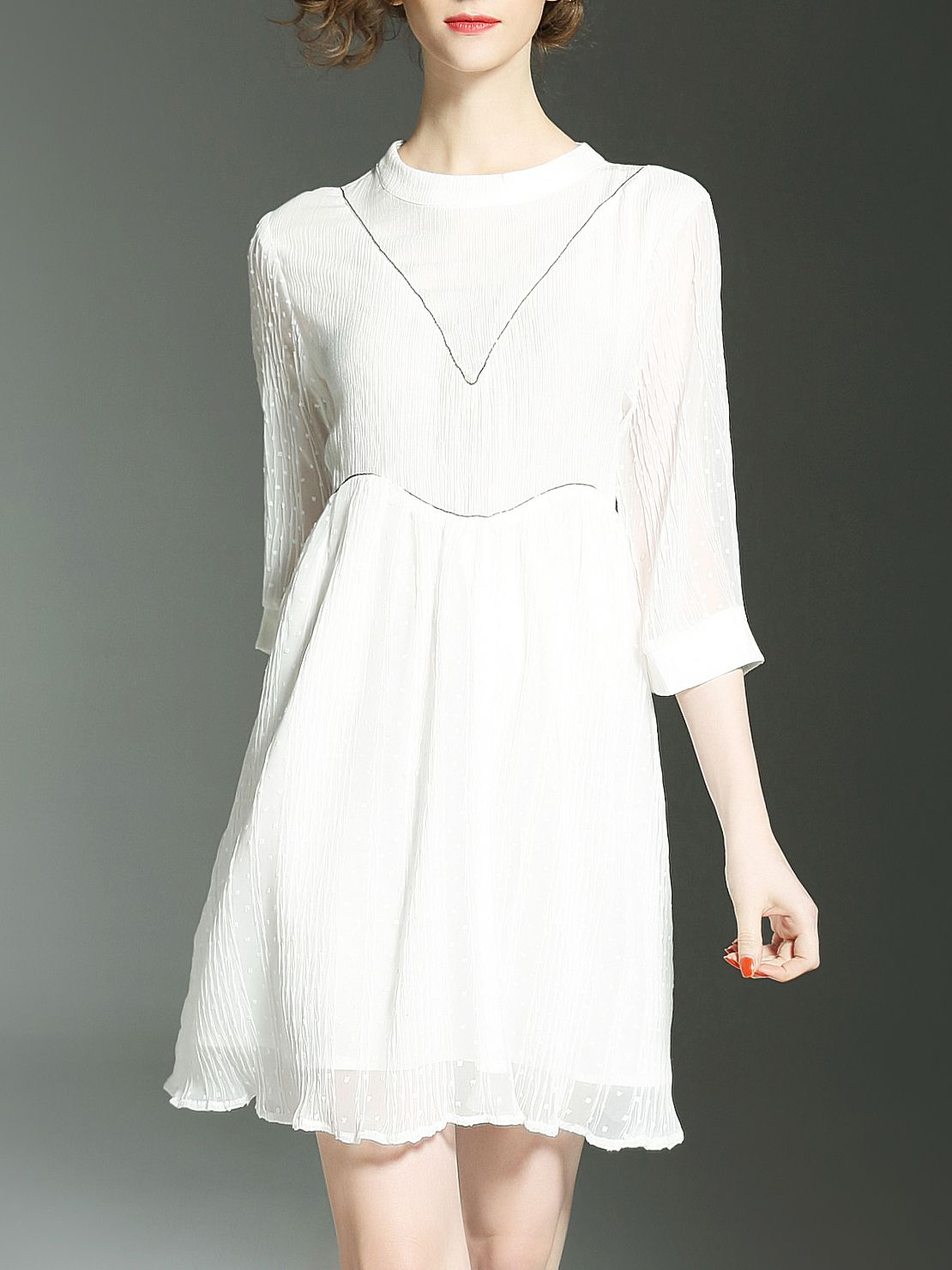 Buy it now. White Pleated Hollow A-Line Dress. White Round Neck Half Sleeve Polyester A Line Short Plain Fabric has some stretch Summer Elegant Day Dresses. , vestidoinformal, casual, camiseta, playeros, informales, túnica, estilocamiseta, camisola, vestidodealgodón, vestidosdealgodón, verano, informal, playa, playero, capa, capas, vestidobabydoll, camisole, túnica, shift, pleat, pleated, drape, t-shape, daisy, foldedshoulder, summer, loosefit, tunictop, swing, day, offtheshoulder, smock,...