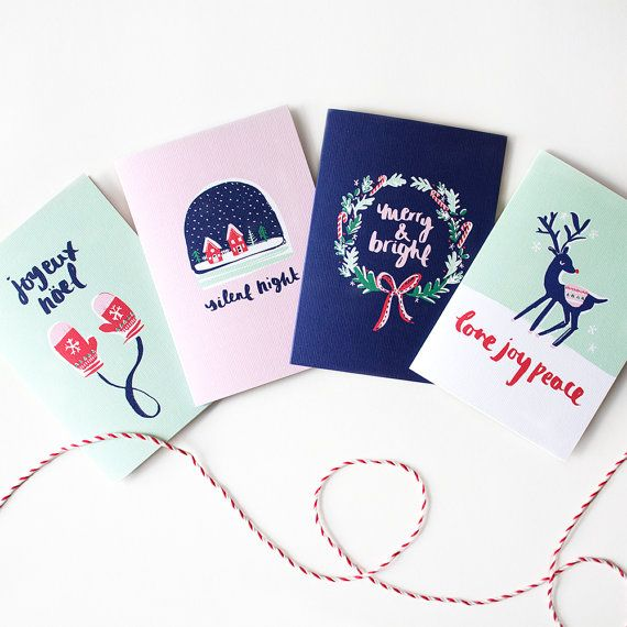 Illustrated Christmas Cards Set of 8 by TheLovelyDrawer on Etsy