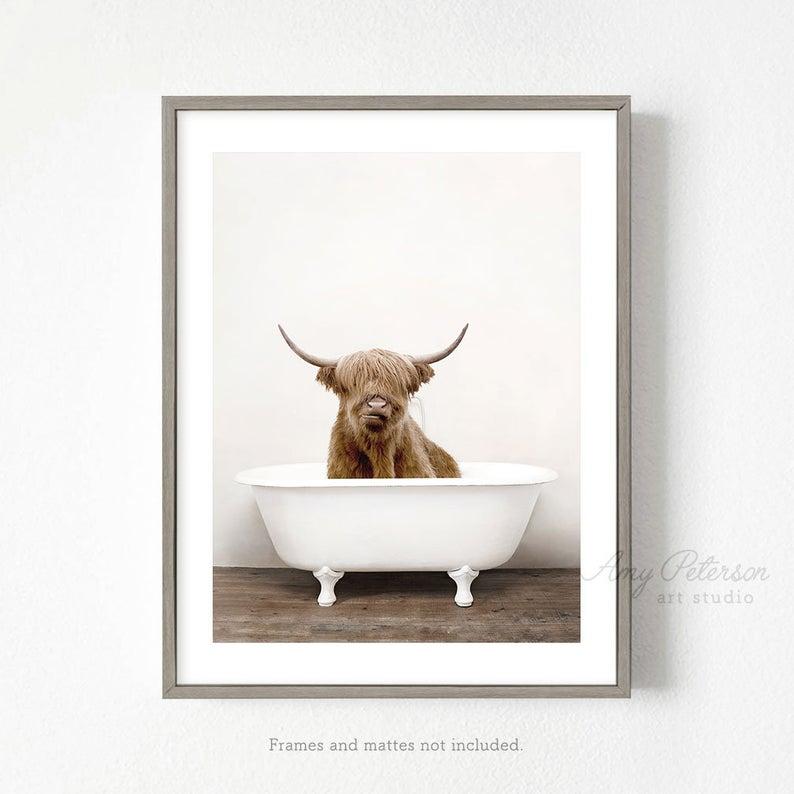 Highland Cow In A Bathtub Cow Taking A Bath Cow Bathing Whimsy Animal Funny Bathroom Art Print Animal Art By Amy Peterson Vozeli Com