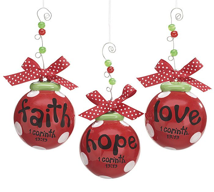 Religious Christmas Ornament Assortment: Hand-painted Ceramic Ornament Assortment With Wire And