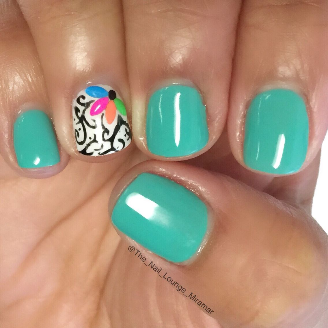 teal flower nail art design