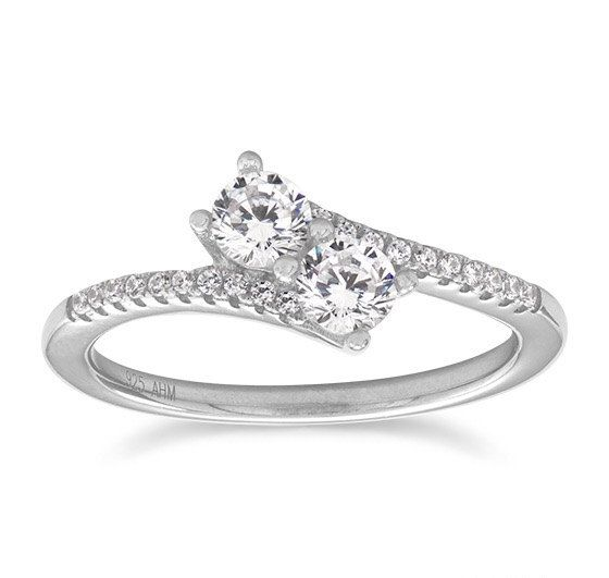 Sterling Silver Rhodium Plated Double CZ Ring by ForsgateJewelry
