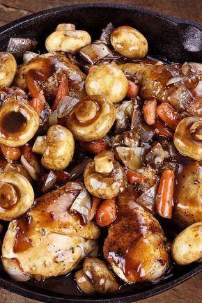 Rezept für ein leichtes Coq au Vin #healthycrockpotchickenrecipes