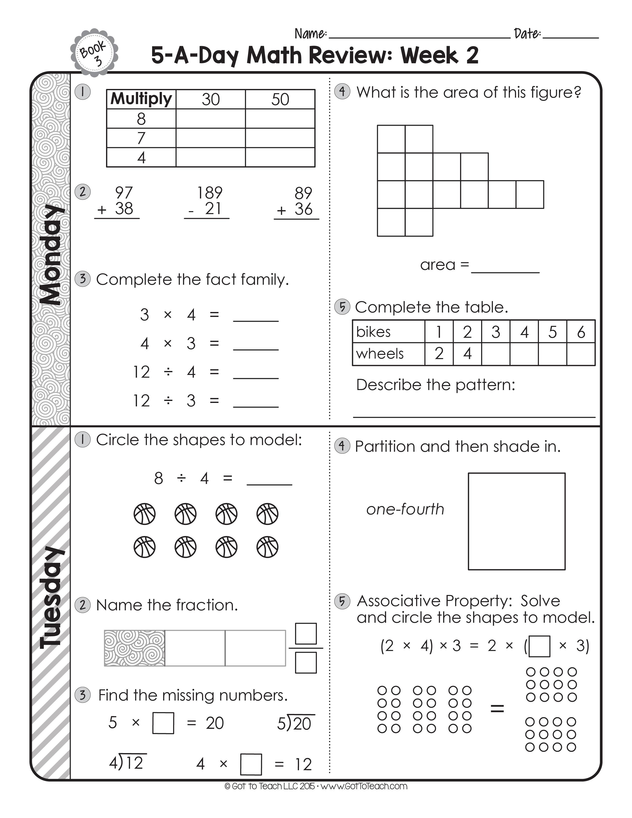 3rd Grade Daily Math Spiral Review • Teacher Thrive   Math spiral review [ 3301 x 2551 Pixel ]