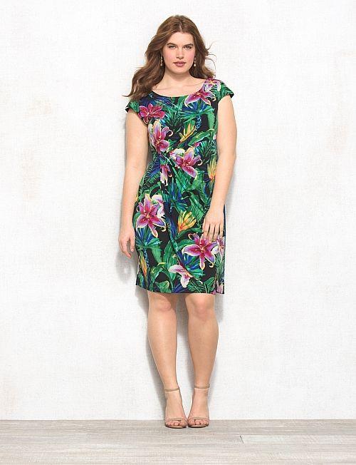 Plus Size Tropical Floral Faux Wrap Dress Dressbarn Fill My