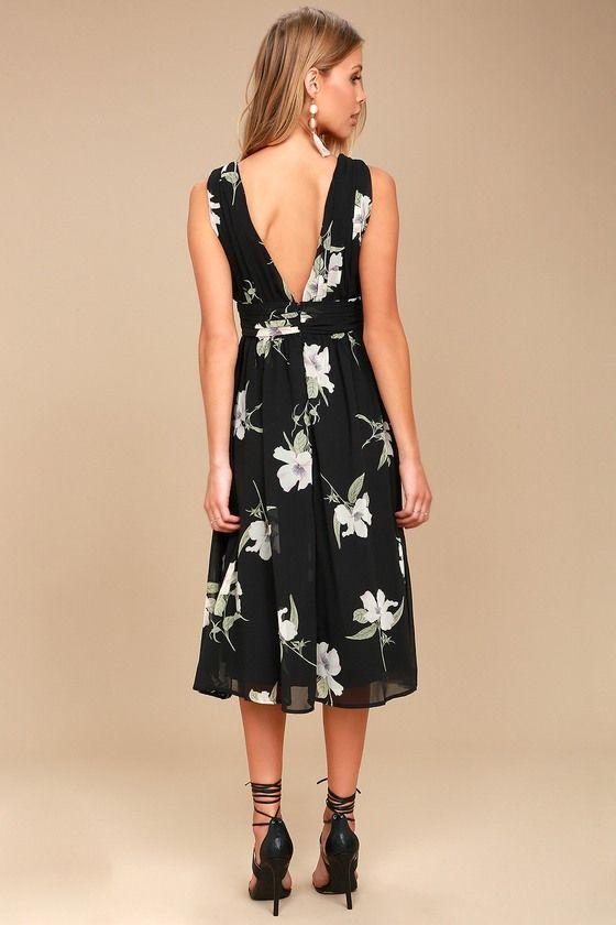 a02a4812b23c Queen of Hearts Black Floral Print Midi Dress 3