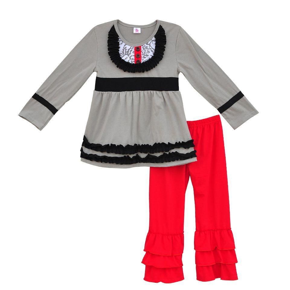 2c3635eed Factory Sale Girls Fall Winter Clothing Gray Swing Top Red Ruffle ...
