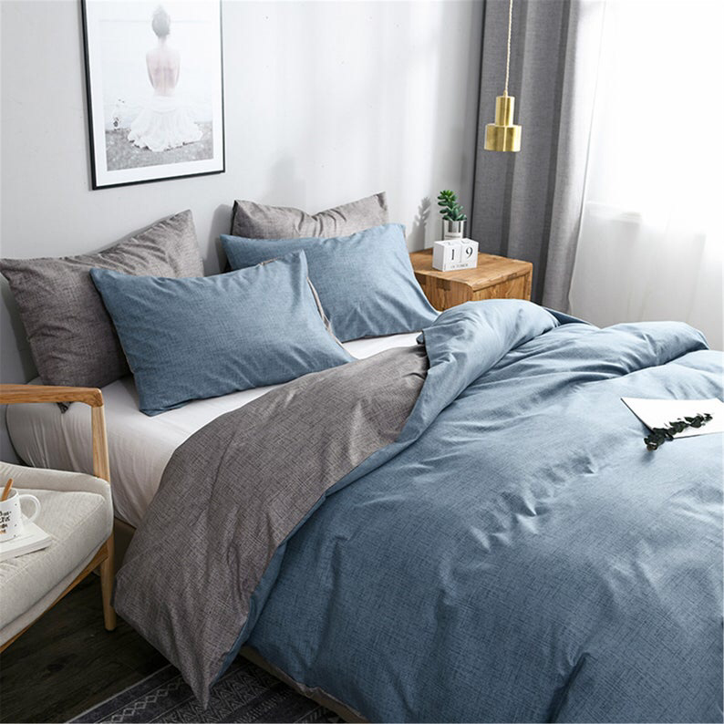 Gray Blue Autumn Winter 3 Piece Comforter Cover Set Duvet Etsy In 2021 Blue And Grey Bedding Blue Bedroom Blue Gray Bedroom