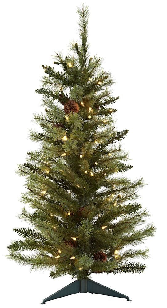 Pine Cones Artificial Silk Christmas Tree with Lights | 3 feet ...