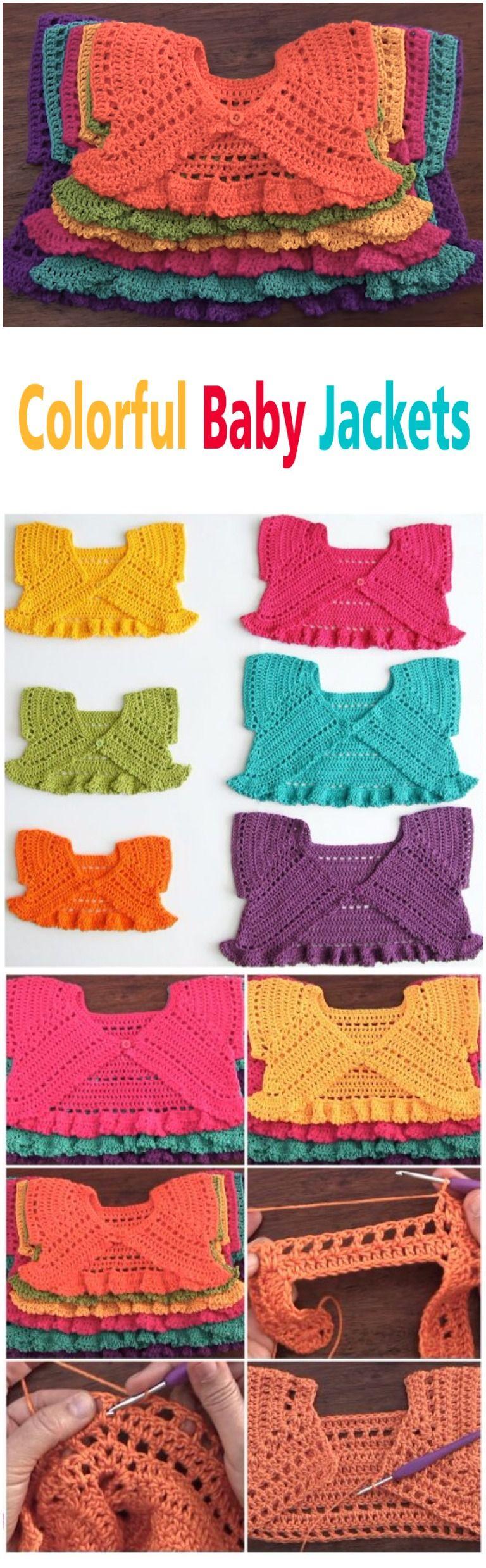 Crochet Colorful Baby Jackets Tutorial   Bolero häkeln ...