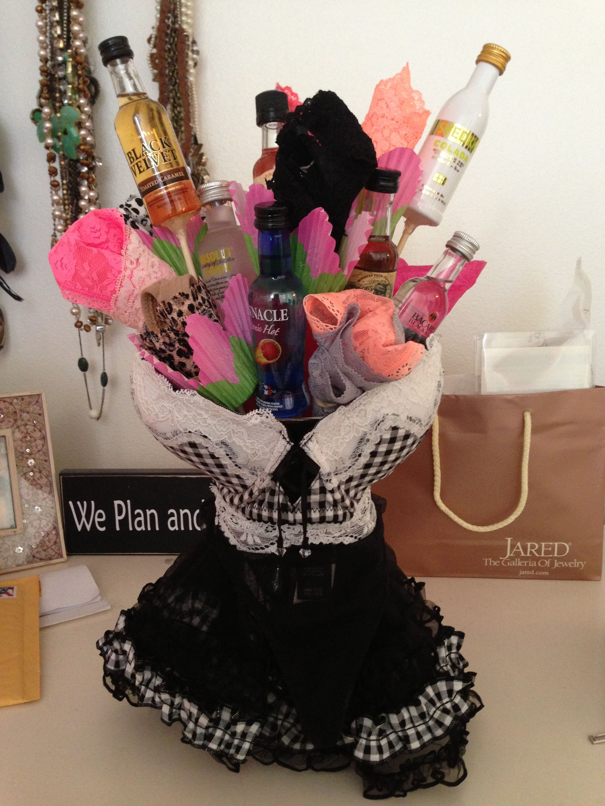 Bachelorette bouquet mini liquor bottles and panties placed in a mini liquor bottles and panties placed in a vase wrapped with cute lingerie reviewsmspy