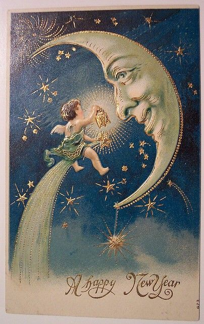 Antique New Year postcard, featuring a quarter moon smiling at an angel.