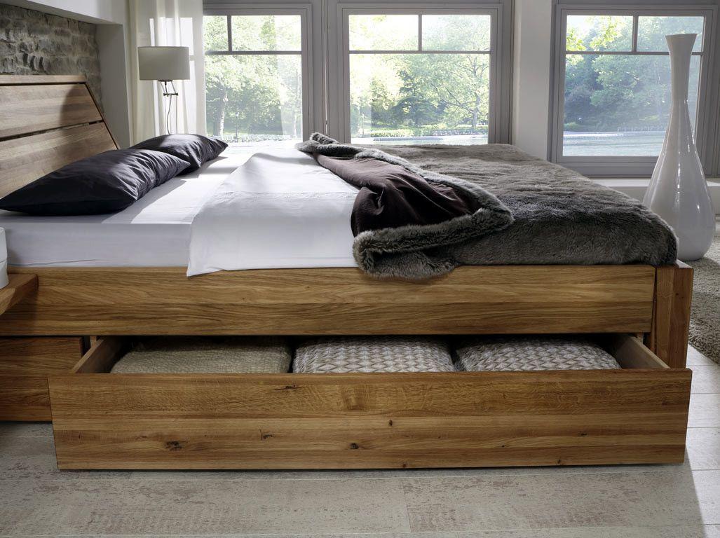 Komfortbett 180x200 cm Eiche massiv mit Bettkasten Bed